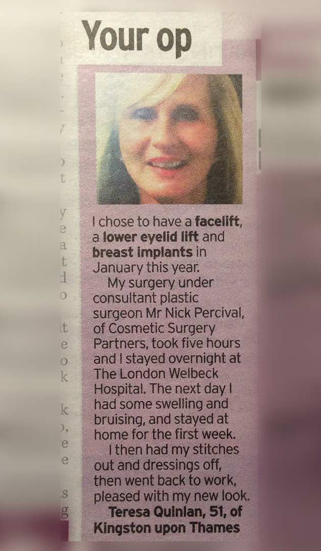 face lift at cosmetic surgery partners Daily Mirror