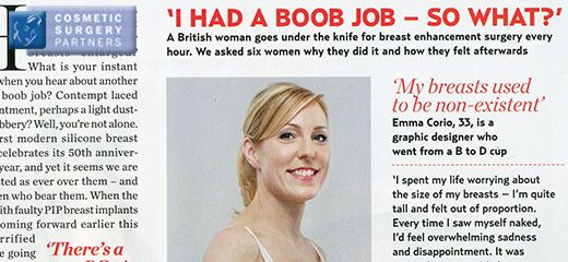 Cosmetic Surgery Partners breast augmentation patient featured in Marie Claire magazine